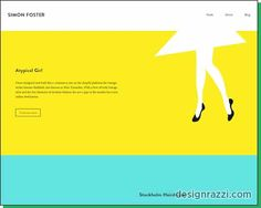 Clean modern implementation of yellow in a website. Flat design.