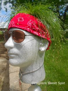 meet my new garden head butch, crafts, gardening, A few accessories like a bandana an earing shades and a necklace made Butch come to life