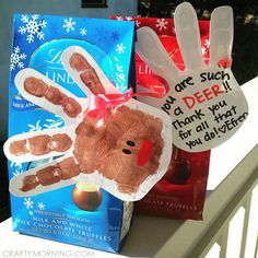 Handprint Reindeer Thank You Gift Idea for Christmas! Such a cute kids craft - Crafty Morning