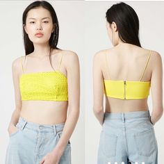 Topshop Crochet Bralet Wear with high-waisted jeans for a flash of midriff. Cut with skinny straps and zip fastening to the back. 100% Polyester. Topshop Tops Crop Tops