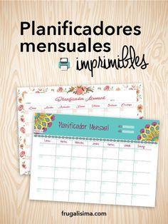 Planificador mensual imprimible (gratis!) y mi experiencia de cómo me ayudó - Frugalísima
