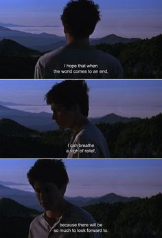 """anamorphosis-and-isolate: """"― Donnie Darko Donnie: l hope that when the world comes to an end, l can breathe a sigh of relief, because there will be so much to look forward to. Movies And Series, Movies And Tv Shows, The Lone Ranger, Movie Lines, Depression Quotes, Film Quotes, Film Stills, Quote Aesthetic, Mood Quotes"""