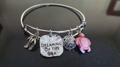 Dreaming of the Sea Charm Silver Bangle Bracelet, Beach, Travel, Inspirational