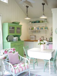 Colorful Kitchen with Mint Green Hutch and Open Shelves