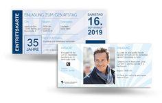 Einladungskarte Ticket- Geburtstag
