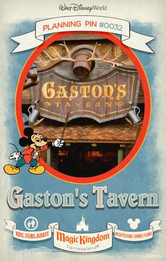 Walt Disney World Planning Pins: The manliest of manly places, Gaston's Tavern serves up such satisfying snacks as roasted pork shanks, mixed vegetables cups, hummus with chips, fruit cups and warm cinnamon rolls. Plus, enjoy refreshing beverages, like LeFou's Brew—the restaurant's signature non-alcoholic drink.