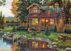 MasterPieces Peace Like A River Panoramic Jigsaw Puzzle, Art by Kim Norlien, Thomas Kinkade, Landscape Art, Landscape Paintings, Kinkade Paintings, Hidden Images, Cottage Art, Paint By Number Kits, Bob Ross, Puzzle Art