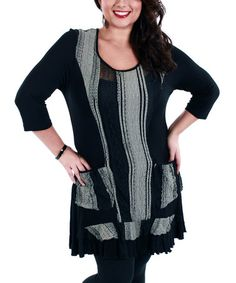 Look what I found on #zulily! Black & Gray Stripe Tunic - Plus by Aster #zulilyfinds