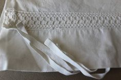 Vintage cushion cover with crochet lace by ReDesignandReCycled, kr80.00