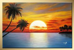 Art works hand-painted The sun rising coconut trees decorative landscape oil painting on canvas 16*16inch Framed(China (Mainland))