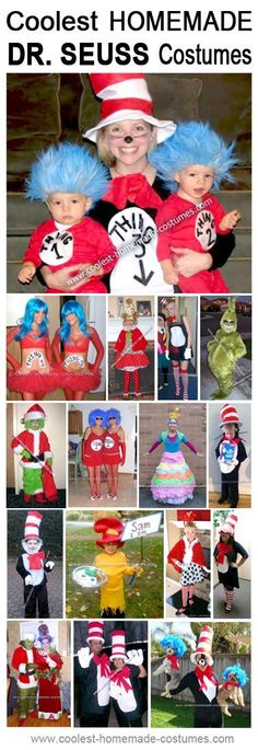 Coolest Homemade Thing 1 and Thing 2 Cat in the Hat Costumes Homemade Dr. Seuss Cat in the Hat Costumes - Coolest Halloween Costume ContestHomemade Dr. Seuss Cat in the Hat Costumes - Coolest Halloween Costume Contest Halloween Costume Contest, Cool Halloween Costumes, Halloween Diy, Costume Ideas, Dr Seuss Costumes, Boy Costumes, Dr Seuss Week, Dr Suess, Book Characters Dress Up