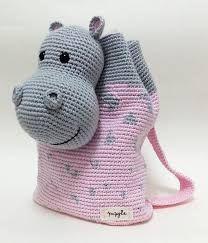 Resultado de imagen para mochila de crochê infantil hipopotamo