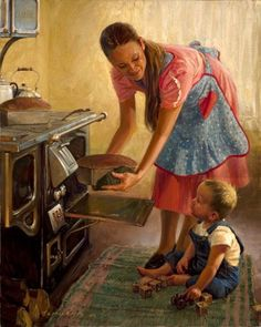 OK....HERE IS AN OCD FUNNY ABOUT ME....I LOOKED AT THIS PICTURE AND ALLLLLL I COULD SEE WAS THAT BABY POSSIBLY GET HURT IT'S DRIVING ME ABSOLUTELY NUTS.....IT'S ONLY A PAINTING ONLY A PAINTING...MY HEART IS STILLL THUMPING AHHHH.( SOME WILL GET MY HUMOR !!!!!!   .Fresh Bread - Loren Entz