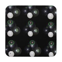 Black #Lawn #Bowls And Kitty Pattern Drink #Coaster