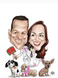 caricatura de casal com seus cachorrinhos para convites de casamento