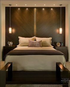Sleek brown and white bedroom