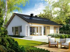 Projekt domu parterowego Rafael III o pow. 95,56 m2 z dachem dwuspadowym, z tarasem, sprawdź! Home Design Diy, Unique House Design, Build My Own House, Building A House, Model House Plan, Village House Design, Pool House Designs, Simple House Plans, House Wiring