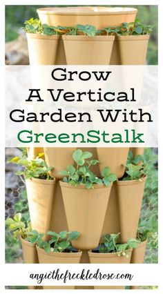 Grow a vertical garden in this stackable, space-saving plant tour that fits into any outdoor space. It has a built in slow drip watering system to help make growing easy! Organic Gardening, Gardening Tips, Sustainable Gardening, Drip Watering System, Vertical Vegetable Gardens, Vegetable Gardening, Hanging Pots, Growing Vegetables, Vegetables Garden