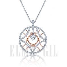 ELMA*GIL 18K White and Rose Gold Semi-Mount Diamond Pendant DP-320
