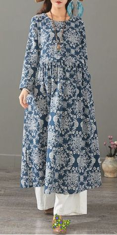 Vintage Floral Cotton Linen Maxi Dresses Women Loose Clothes 1399<br> Outfits Casual, Mode Outfits, Linen Dresses, Cotton Dresses, Maxi Dresses, Loose Dresses, How To Wear Jeans, Hijab Fashion, Fashion Dresses