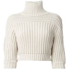 Brunello Cucinelli cropped roll neck sweater (€605) ❤ liked on Polyvore featuring tops, sweaters, crop tops, shirts, cropped sweater, 3/4 sleeve shirts, white crop shirt, white crop top and white cropped sweater