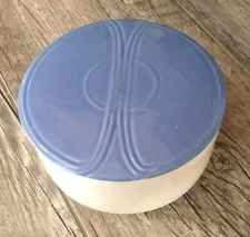 Vintage 1940's Knowles Pottery Covered Refrigerator Dish in Deco Blue!