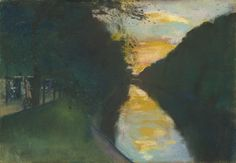 Lesser Ury - Spaziergänger am Landwehrkanal, Pastell, ca. 1920