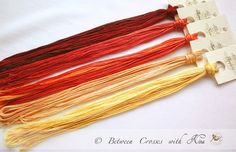 Fire colors. Hand painted (hand dyed) floss for cross stitching, cotton embroidery threads. via Etsy