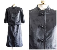 Chinese black satin brocade two piece skirt suit outfit by TimeTravelFashions on Etsy
