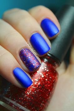 Matte Blue Mani with Red and Silver Glitter Accent Nail