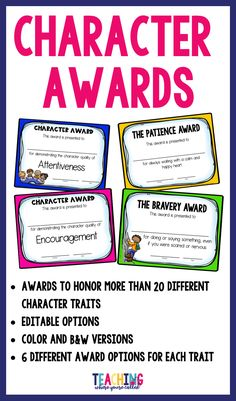 Celebrate character qualities in your students with these character trait awards. More than 20 different character traits are included with editable options! These are perfect for end of the year awards and can also be used throughout the year to honor excellent character in your students!