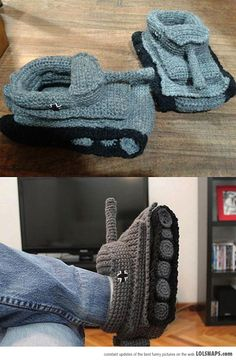 Tank slippers (manly crochet) - *Inspiration*