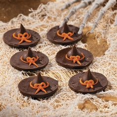 Witch Hat Cookies made with chocolate cookies and kisses.