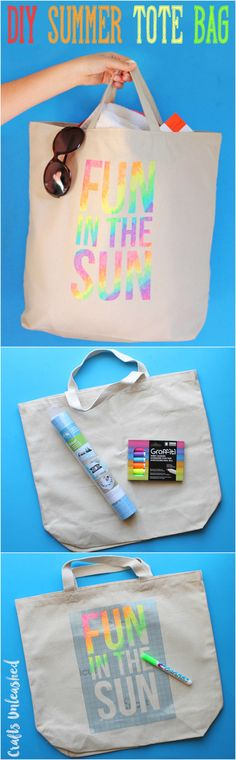 Fun In The Sun DIY Summer Tote Bag. Cute and easy to make! It kind of looks like tie dye. Love the neon colors!