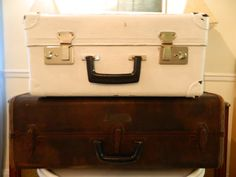 Vintage Suitcase Painted Shabby White by 3sisterstreasures on Etsy