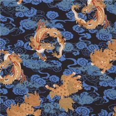 navy blue fabric from Japan with lions, dragons and gold metallic print Lion Dragon, Blue Lion, Metallic Prints, Modes4u, Blue Fabric, Cute Designs, Lions, Dark Blue, Fabrics