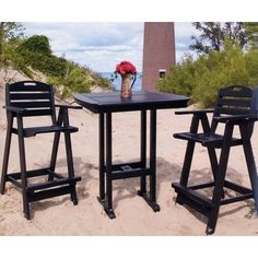 Nautical 3 Piece Bar Height Dining Set Finish: Sand by Polywood. $1036.97. PO1114 Finish: Sand Features: -Made to withstand a range of climates including hot sun, cold winters, and salty coastal air.-Comes standard with an umbrella hole for a 1.5'' pole.-Stainless steel hardware.-Made in the USA. Color/Finish: -Fade resistant colors permeate each board. Assembly Instructions: -Shipped knocked down, with easy assembly required. Dimensions: -Bar stool dimensions: 46'' H x 25.5'' ...