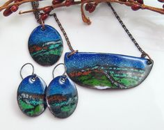 Colorful Jewelry Set Copper Enameled Pendant & by WillOaksStudio