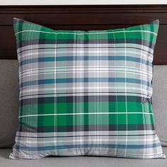 Portsmith Plaid Euro Sham, Navy/Green
