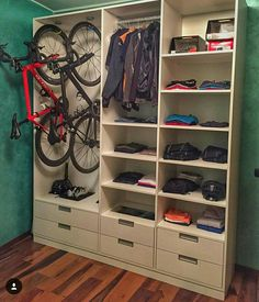 A proper way to store your bikes and cycling gear. - A proper way to store your bikes and cycling gear. Indoor Bike Storage, Indoor Bike Rack, Bike Storage Rack, Indoor Cycling, Standing Bike Rack, Bike Storage Solutions, Storage Ideas, Garage Velo, Bike Storage Apartment