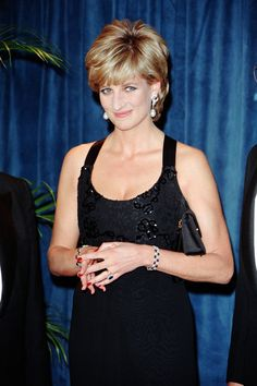 Princess Diana at the 41st annual United Cerebral Palsy Awards gala December 11, 1995 in New York City. Black Beaded Gown by Jacques Azagury c1995
