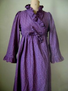 French Actress Estate Vintage Laura Ashley 70s Romantic Ruffled Wrap Dress | eBay