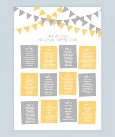 Yellow and grey table plan with bunting