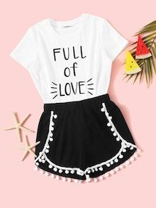 Girls Slogan Print Top & Pompom Trim Shorts Set Check out this Girls Slogan Print Top & Pompom Trim Shorts Set on Shein and explore more to meet your fashion needs! Cute Lazy Outfits, Teenage Outfits, Kids Outfits Girls, Batman Outfits, Classy Outfits, Pajama Outfits, Crop Top Outfits, Rock Outfits, Emo Outfits