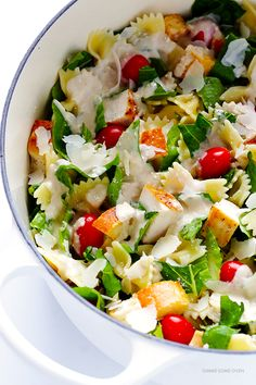 This Chicken Caesar Pasta Salad recipe is quick and easy to make, and tossed with a healthier Greek Yogurt Caesar Dressing.