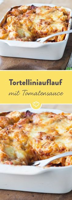 Tortellini bake with spicy tomato and spinach sauce- Tortelliniauflauf mit würziger Tomaten-Spinat-Sauce Tortellini, spinach, tomatoes, mozzarella … hmm! This casserole is made very easy and is loved by everyone thanks to delicious ingredients. Veggie Recipes, Vegetarian Recipes, Healthy Recipes, Sauce Recipes, Pasta Recipes, Dinner Recipes, Tortellini Bake, Pasta Bake, Vegan Tortellini