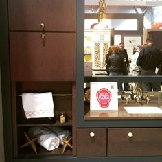 """Beautiful color combo brought to you by #MasterbrandCabinets! #cabinetry #bathroom #design #KBIS2015"""