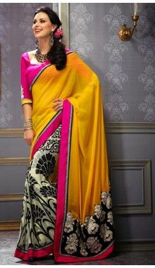 Yellow & Cream Designer Chiffon Saree @Rs.1,699