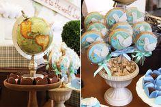 O chá de bebêdo Lucas ganhou um tema muito propício: welcome to the world! A ideia era anunciar a sua chegada com uma decoração que remete a viagens e vol