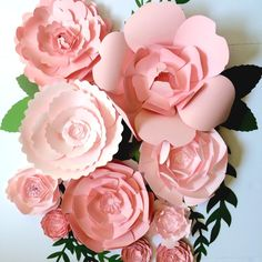 Pink Paper Flowers with paper leaves. Create your own paper flower wall or vignettes. paperflora2@gmail for colors and price lists.